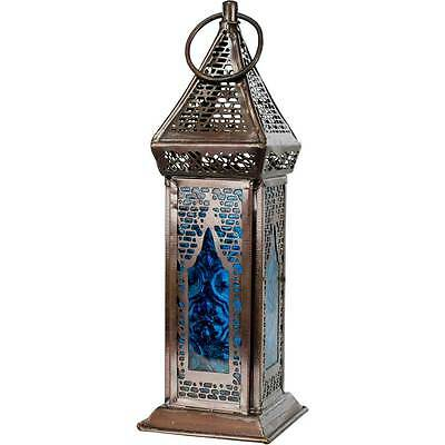 Blue Glass Moroccan Lantern Candle Holder Metal Hanging Decor Party Wedding Boho
