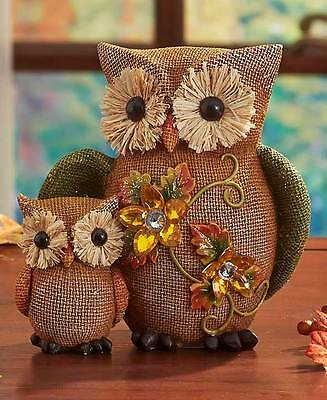 Jeweled Fall Figures ~ Owl Baby & Mom Autumn Thanksgiving Table Party Owls Decor