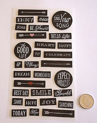 NO 332 Scrapbooking - 25+ Black & White Chipboard Saying Word Stickers - Crafts