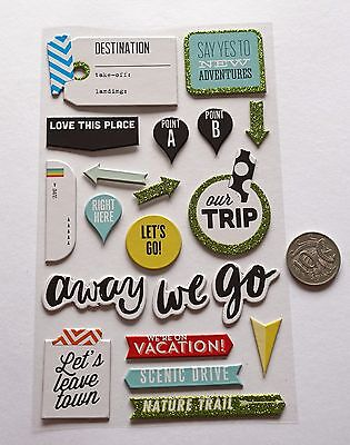 Scrapbooking No 400 - 15 Plus Chipboard Travel Themed Stickers