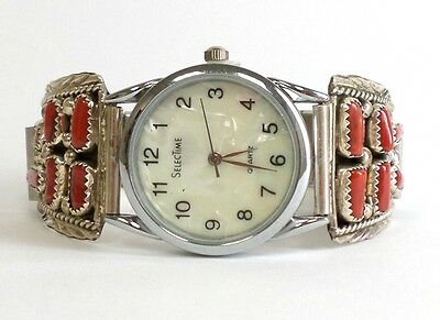Navajo Coral Sterling Silver Band Watch - Marilyn Yazzie