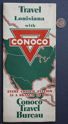 1934 Conoco Oil Gas service station Travel State of Louisiana road map-VINTAGE!