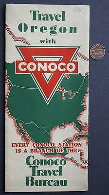 1934 Conoco Oil Gas service station Travel State of Oregon road map-VINTAGE!