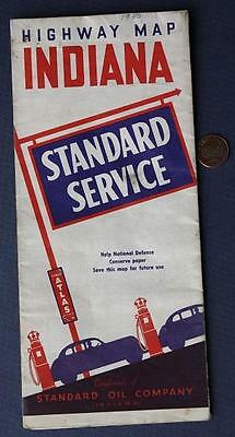 1940s WWII Era Standard Oil of Indiana Gas Service Station road map-Homefront!