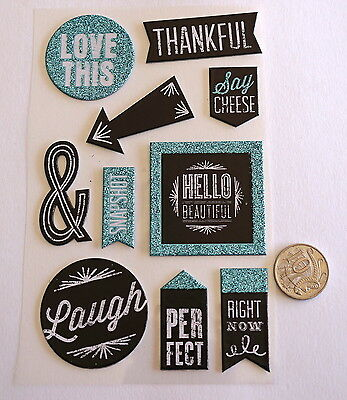 Scrapbooking No 342 - 10 Black & White Chipboard Saying Stickers  With Glitter