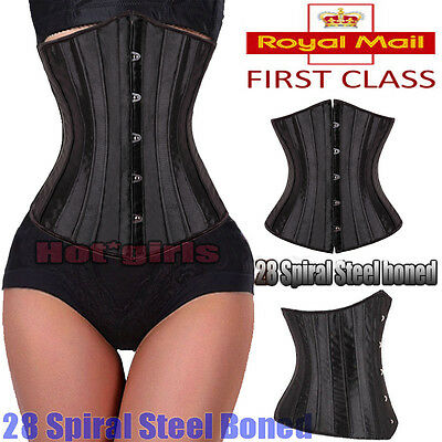 28 Steel Boned Tight Lacing Underbust Waist Training Corset Trainer Shaper HG