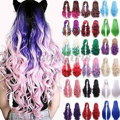 60-100CM Long Ombre Anime Wigs Real Heat Resistant Hair Full Wig Soft Fringe MC3