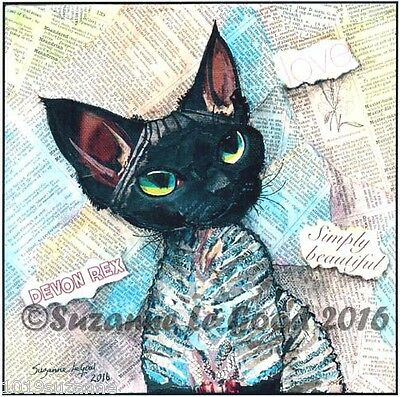Large Ltd Ed Devon Rex Cat Collage Print From Original Painting Suzanne Le Good