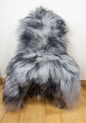 XXL Large Grey & Black Tip Genuine Icelandic Sheep Real Fur Sheepskin Rug BN