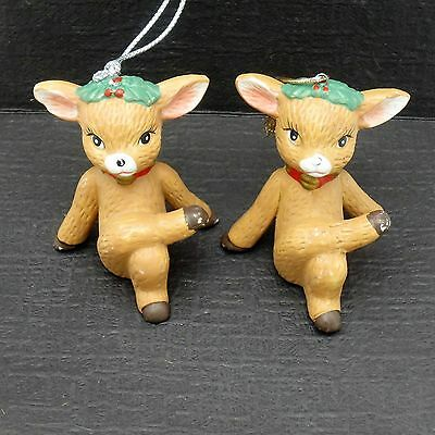 Lot of 2 Porcelain Ceramic Deer Reindeer Christmas Ornaments