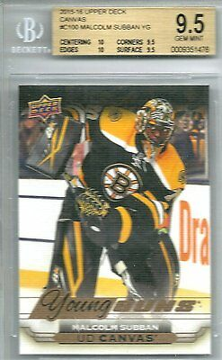 2015-16 Upper Deck Malcolm Subban #C100 Canvas Young Guns Rookie Card YG BGS 9.5
