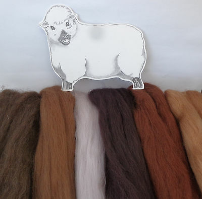 MERINO / CORRIEDALE BROWN ANIMAL SHADES wool tops / roving / needle felting  60g