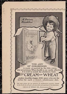 1900 Ad Little Boy Playing with Cream of Wheat 'The Joy of Childhood' 8 x 6