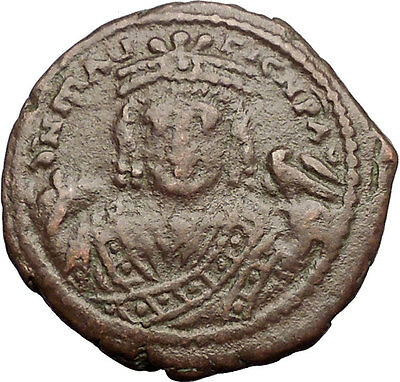 MAURICE TIBERIUS 601AD Antioch Theoupolis Follis Ancient Byzantine Coin i57537