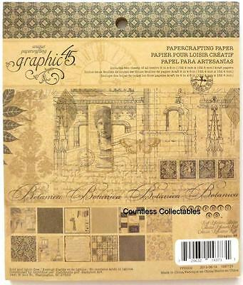 Graphic 45 KRAFT REFLECTIONS 6x6 Decorative Scrapbook Paper Pad RETIRED RARE