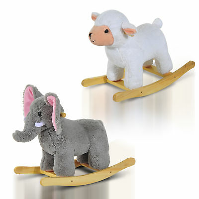 Baby Kids Plush Toy Rocking Horse Elephant Sheep Style Ride on Rocker w/ Songs