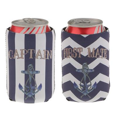 2pcs Stubby Beer Bottle Tin Can Cooler Sleeve Wrap First Mate Captain Anchor