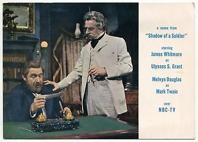 """1960 TV Ad Postcard: """"Shadow Of A Soldier"""" w/ James Whitmore & Melvyn Douglas"""