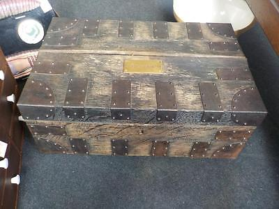 Antique Chest With Original Brass Plaque C.A.King Harman ESQ.Trunk/Storage Heavy