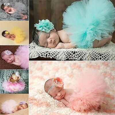 Cute Newborn Toddler Baby Girl Tutu Skirt Headband Photo Prop Costume Outfit EW