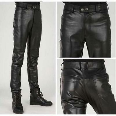 Men Black Leather Pants Slim Fit Fashion Korea Motorcycle Trousers Skinny