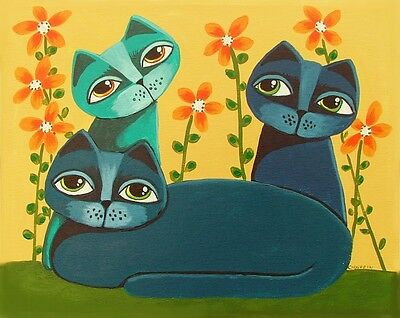 "Whimsical Cat painting 11"" X 14""  original  art GOSHRIN"