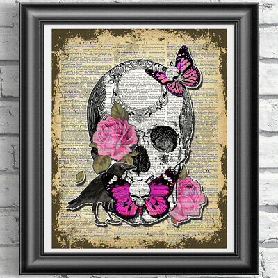 Original ART Print DICTIONARY ANTIQUE BOOK PAGE Pink Butterflies Skull and Roses