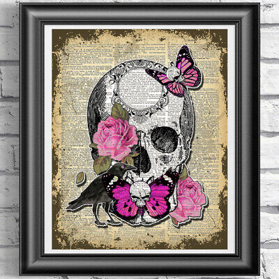 Original ART Print DICTIONARY ANTIQUE BOOK PAGE Skull Buttefly and Pink Roses