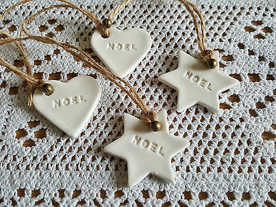 12 Handmade & Hand painted CLAY Christmas Gift Tags/Tree Decorations
