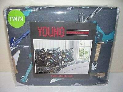 Young Expressions Guitars Design Twin Sheet Set Polyester Mint Package
