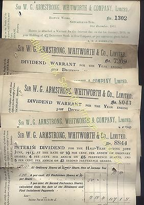 1912-13 Sir W.G.ARMSTRONG, WHITWORTH & Co Ltd DIVIDEND six receipts for shares