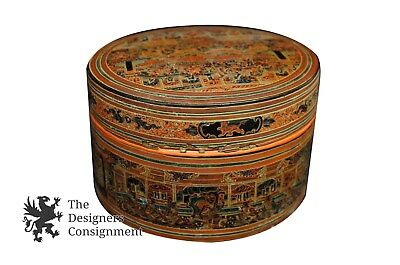 Lacquered Oriental Hand Painted Lidded Chinese Box Decorative Display Metal Vtg