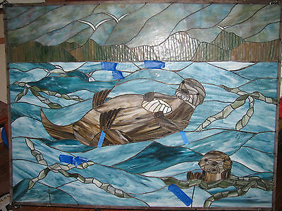 Antique Vintage Sea Otters Ocean Leaded Stained Glass Window Rare Large 4' x 3'