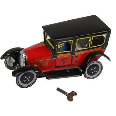 Wind Up tin Toy Black/Red clockwork Taxi w/ driver car Model vintage retro Gift
