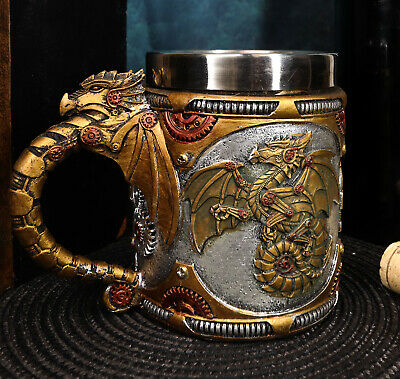Golden Fire Wheel Steampunk Cyborg Dragon Beer Stein Tankard Coffee Cup Mug