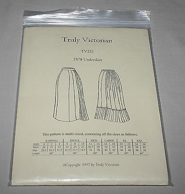 Truly Victorian TV221 1878 Underskirt Costume Pattern Sizes 0-26 New