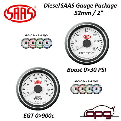 Saas Performance Diesel - Egt & Boost 52Mm Analog Gauge Combo White Face 4 Color