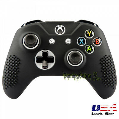 Game Soft Silicone Gel Grip Cover Sleeve Skin for XBOX ONE S Controller Black