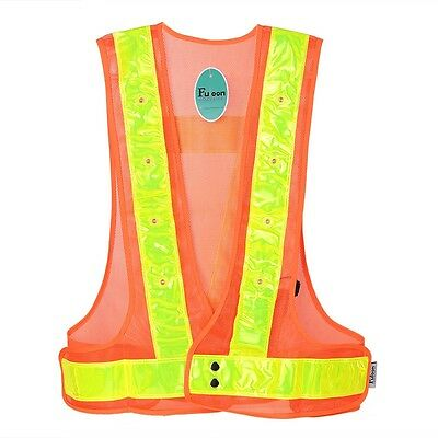 Reflective Stripes Traffic Work Vest 16 LED Light Up Safety Warning Clothes