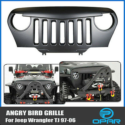 Angry Bird Front Matte Grill Grille Black ABS For 1997-2006 Jeep Wrangler TJ