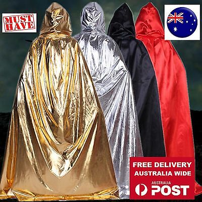 Women Men Adult Witch Ghost Party Costume leather look Halloween Cape Cloak hood