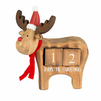 WOODEN Rudi REINDEER SLEEPS Days UNTIL CHRISTMAS CALENDAR Advent Decoration