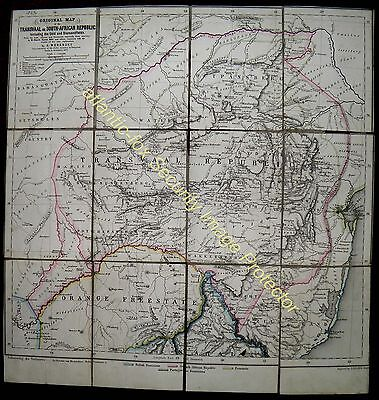 1873 Original TRANSVAAL & SOUTH AFRICAN REPUBLIC with GOLD & DIAMOND FIELDS MAP