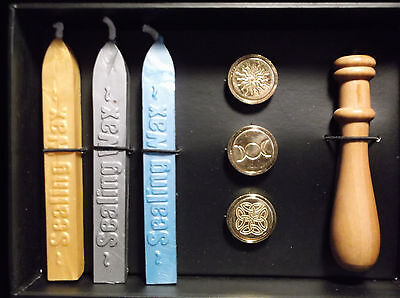 Brand New! Wax Sealing Kit 3 Spiritual Stamps & 3 Colors Of Wax Ritual Letters