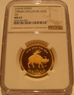 Singapore 1985 Gold 1/2 oz 50 Singold NGC MS-67 Ox