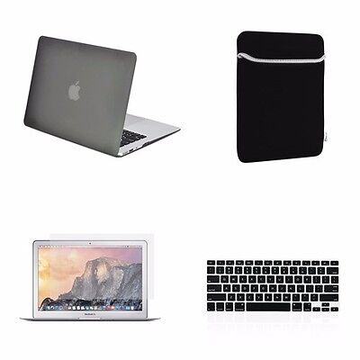 "4 IN 1 Macbook Air 13"" Gray Rubberized Hard Case + Keyboard Cover + LCD + Bag"