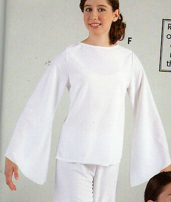 NWT Praisewear Blouse Liturgical White Long Bell SLeeve ch/Ladies pullover