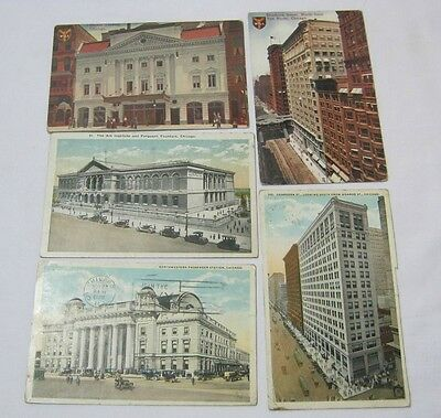 Early Vintage & Antique Chicago Buildings Postcards Lot of 5  T*