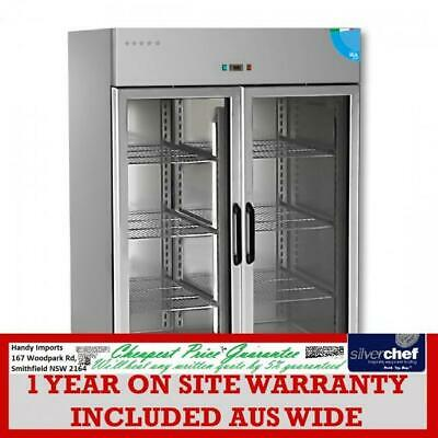FED commercial Premium Double Glass Door Upright Fridge 1400L chiller TD1400TNG