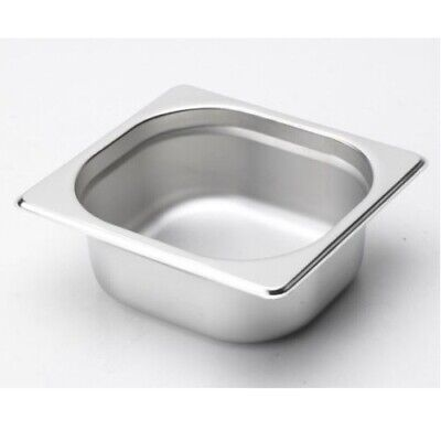 6PCS S/STEEL CONTAINER GN  1/6 GASTRONORM TRAY FOODGRADE 100mm DEEP WITH LIDS